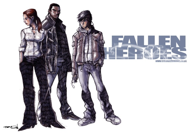 Steph Connisbee, Ben 'The Hand' Ashodi and Jason Chen as drawn by Andie Tong